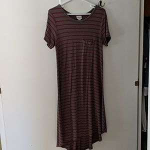 Red and brown striped LulaRoe Carly dress